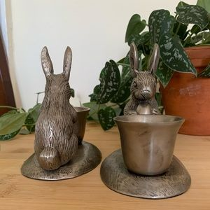 Pottery Barn Accents - Pottery Barn Pewter Rabbit Candlestick Holders